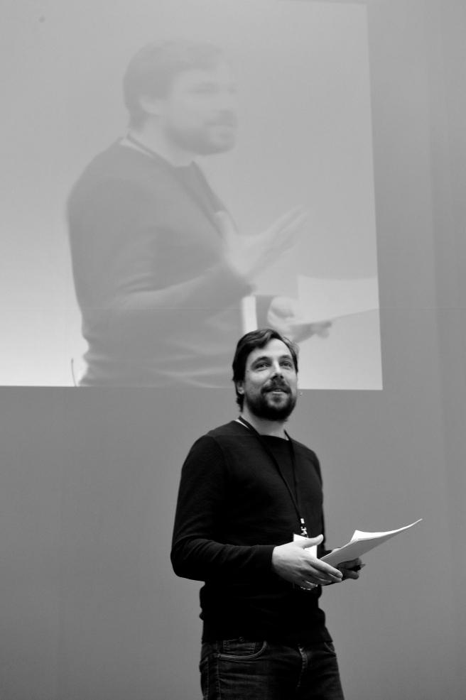 Multiple Persönlichkeit: Auf dem Appathon von Unicredit arbeitete ich als Moderator und Berichterstatter (Foto: HVB)