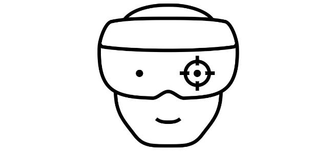 """Erweiterte, normale Realität 2025: Im Fahrstuhl übersprühe ich das Graffiti der Fahrstuhlwand mit meinen Initialen. Die Mitfahrerin bemerkt es nicht. Ich liebe das Augmented Reality-Spiel """"Graffiti Wars"""". (Foto: Augmented Reality Goggles by Felisberto Piazza / Noun Project)"""
